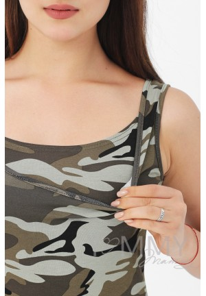 Платье-майка милитари хаки для беременных и кормящих