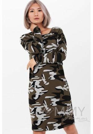 Платье камуфляж хаки для беременных и кормящих