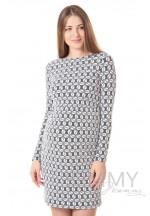Платье-футляр экрю/синий для беременных и кормящих..