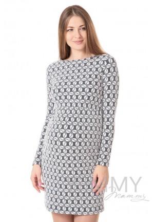 Платье-футляр экрю/синий для беременных и кормящих