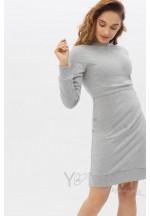Платье-футляр спорт серый меланж для беременных и кормящих..