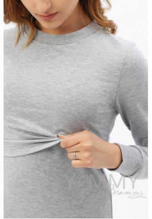 Платье-футляр спорт серый меланж для беременных и кормящих