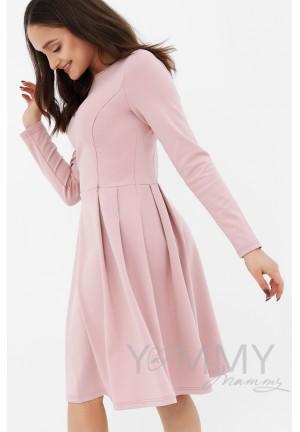 Платье со складками пудрово-розовое для беременных и кормящих