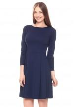 Платье со складками темно-синее для кормящих..