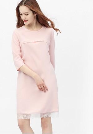 Платье жемчужно-розовое с кружевом для беременных и кормящих (376)