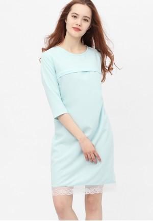 Платье небесно-голубое с кружевом для беременных и кормящих (376)