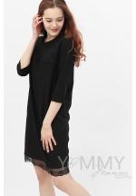 Платье черное с кружевом для беременных и кормящих (376)..