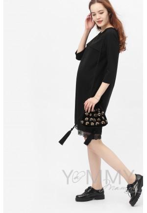 Платье черное с кружевом для беременных и кормящих (376)