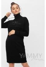 Платье черное с принтом для беременных и кормящих..