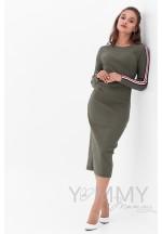 Платье хаки с лампасами для беременных и кормящих..