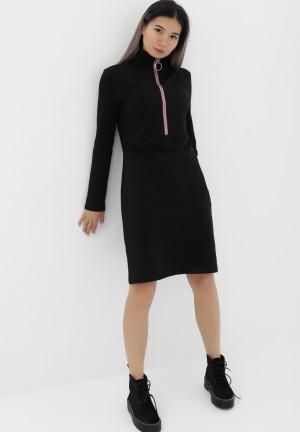 Платье черное с молнией для беременных и кормящих (392)