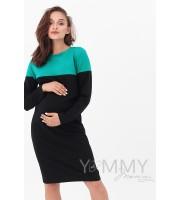 Платье колор-блок черное с зеленым для беременных и кормящих