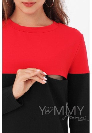 Платье колор-блок черное с красным для беременных и кормящих