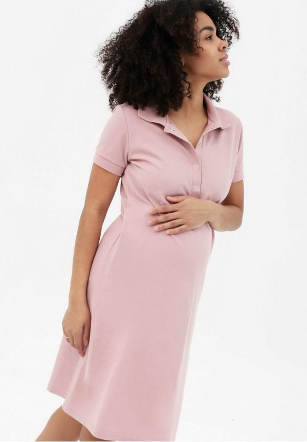 3e59e8b637bf3b9 Платье-поло пудрово-розовое для беременных и кормящих купить в ...