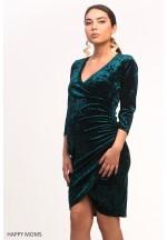 Платье велюровое изумруд для беременных 12c5ab98905