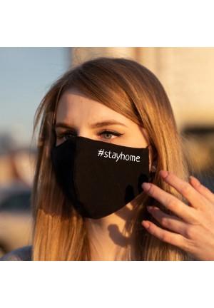 Маска черная #stayhome 100% хлопок двухслойная многоразовая