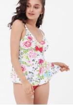 Купальник-танкини розовый/цветы Мальдивы для беременных..