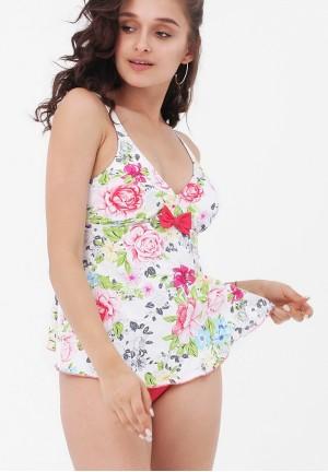 Купальник-танкини розовый/цветы Мальдивы для беременных