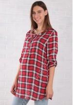 Блуза-рубашка для беременных и кормящих красная (ем 8001)..