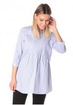 Блуза для беременных и кормящих темно-голубая (ем 8002)..