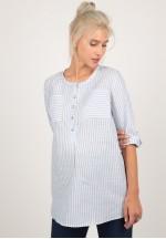 Блуза-рубашка голубая полоска для беременных и кормящих (ем 8107)..