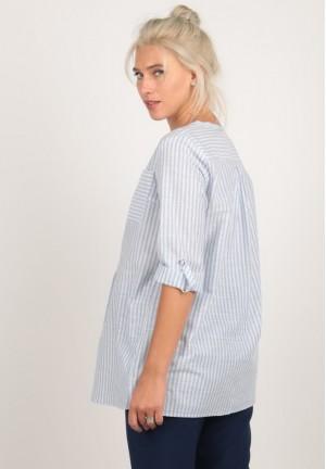 Блуза-рубашка голубая полоска для беременных и кормящих (ем 8107)