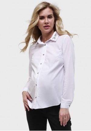 """Рубашка """"Долорес"""" белая для беременных и кормящих"""
