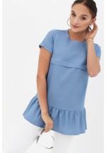 Блуза с воланом голубая джинс для беременных и кормящих..