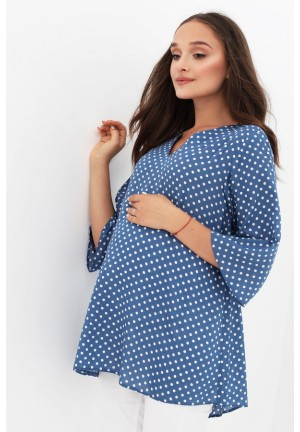 Блуза голубая в горошек для беременных