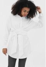 Рубашка с завязками белая для беременных и кормящих (2098)..