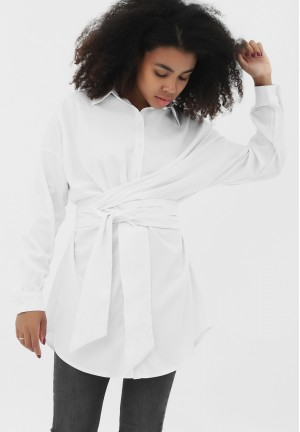 Рубашка с завязками белая для беременных и кормящих (2098)