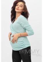 Блуза с защипами ментол для беременных и кормящих..