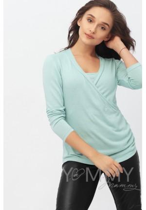 Блуза с защипами ментол для беременных и кормящих