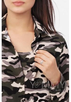 Рубашка милитари с внутренним топом для беременных и кормящих (с браком)