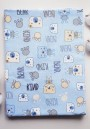 Пеленка фланелевая 90х120см (Мишка голубой)