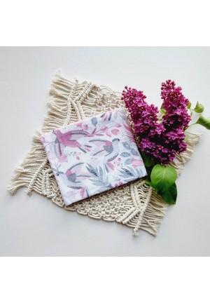 Пеленка муслиновая 80х100см Розовые птички