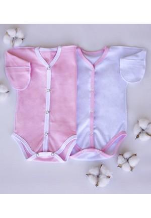 Боди-полукомбинезон для новорожденного розовый с белым (3020)