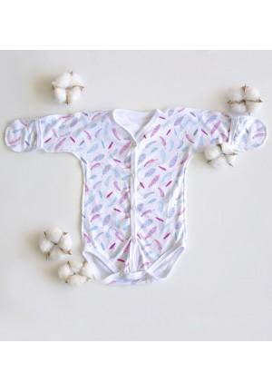 Боди-полукомбинезон для новорожденного Пёрышки (3027)