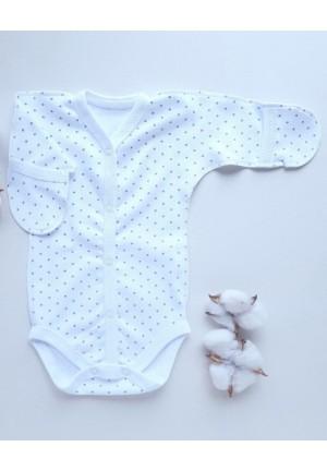 Боди-полукомбинезон для новорожденного Синий горошек (3043)