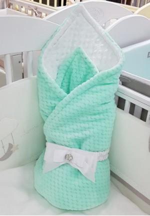 Конверт-одеяло на выписку с бантом ментол