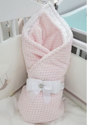 Конверт-одеяло на выписку с бантом розовый