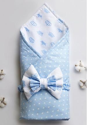"""Конверт-одеяло на выписку с бантом """"Голубые короны"""""""