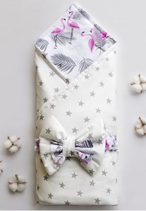 """Конверт-одеяло на выписку с бантом """"Фламинго"""""""