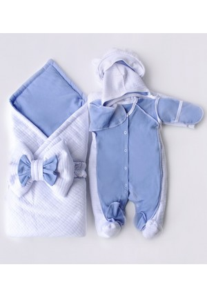 Набор на выписку с бантом (одеяло, утепленный комбинезон, шапочка, комбинезон) голубой