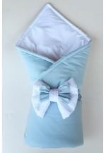 Конверт-одеяло на выписку с бантом бело-голубой (перкаль)..