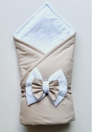 Конверт-одеяло на выписку с бантом кофе (перкаль, демисезон)