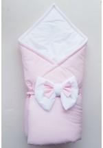 Конверт-одеяло на выписку с бантом бело-розовый (перкаль)..