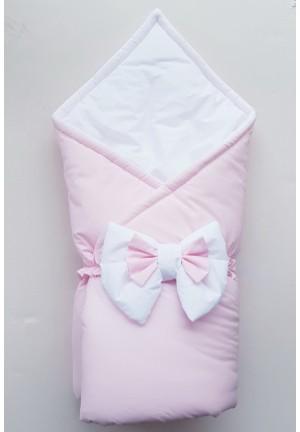 Конверт-одеяло на выписку с бантом бело-розовый (перкаль)
