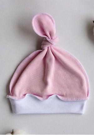 Шапочка детская с узелком розовая с белым (р.36-56)