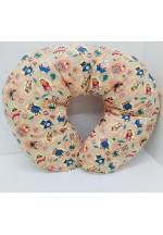 Подушка для кормления в форме подковы бежевая с рисунком (СП0001)..